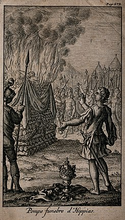 The cremation of Hippias. Etching with engraving. Wellcome V0042373.jpg