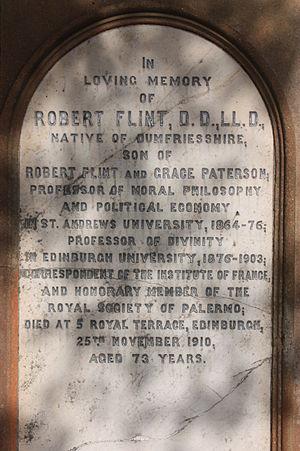 Robert Flint - The grave of Prof Robert Flint, Liberton Cemetery, Edinburgh