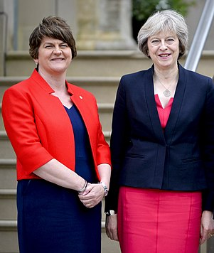 May with Democratic Unionist Party (DUP) leader, Arlene Foster. Theresa May and FM Arlene Foster.jpg