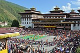 Photograph of Tsechu festival at Tashichödzong