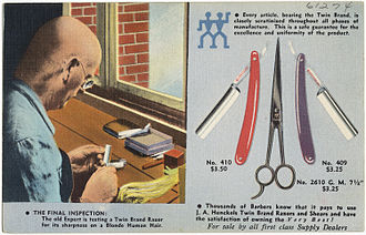 Zwilling J. A. Henckels - J. A. Henckels Twin Brand Razors and Shears promotional postcard, ca. 1930-1945.