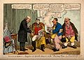 Three doctors converge around a patient; satirizing Pitt's g Wellcome V0011322.jpg