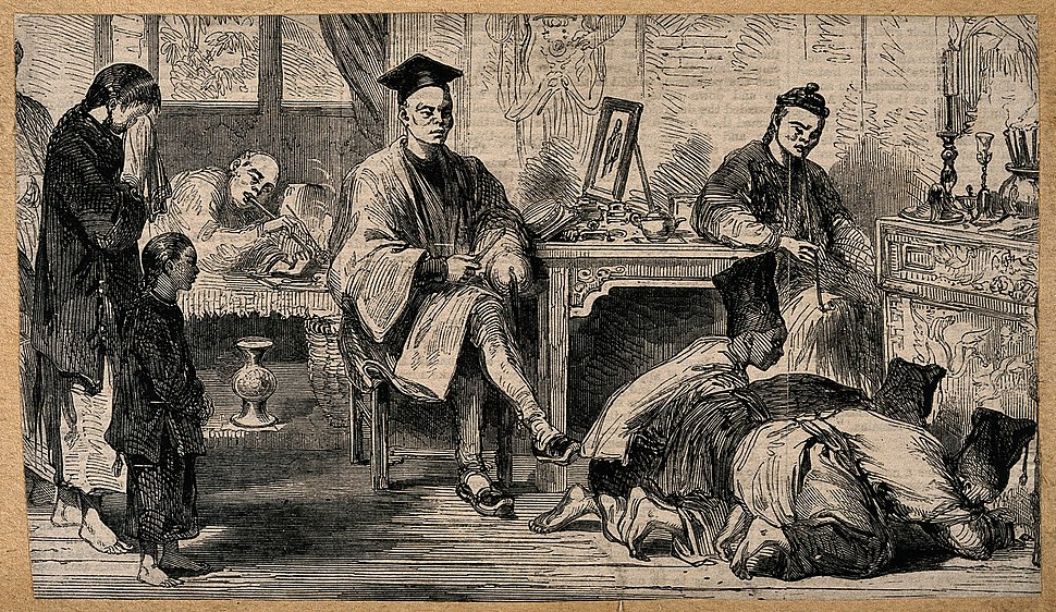 Three people 'kowtowing' to an altar, one woman crying, othe Wellcome V0015171
