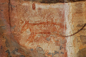 Thylacine - Thylacine rock art at Ubirr