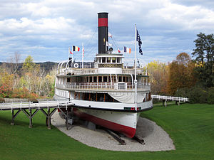 Shelburne Museum - Front view of the Ticonderoga (steamboat) located at Shelburne Museum.