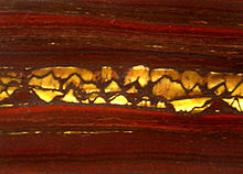 """Photograph of the surface of a stone which shows horizontal alternating bands of red and black with a band of golden-colored fibers in a band across the center"""