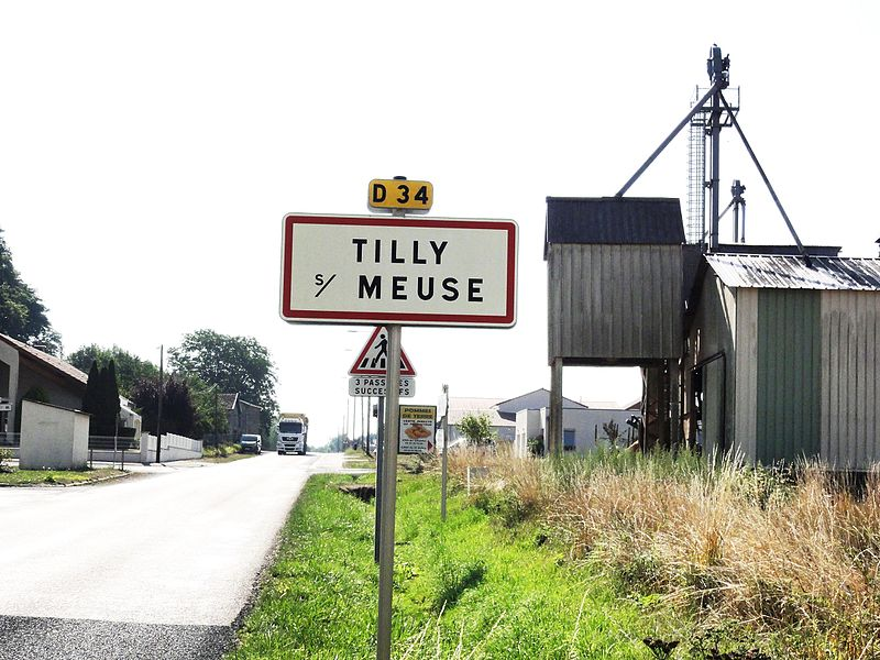 Tilly-sur-Meuse (Meuse) city limit sign and silo