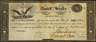 Treasury Note (19th century) - An unissued $10 Small Treasury Note, authorized by the Act of February 24, 1815. This particular note is a remainder which was given a serial number but was never countersigned.