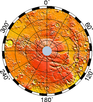 Planum Australe - Elevation map of the south pole. Note how Planum Australe rises above the surrounding cratered terrain. Click to enlarge and for more info.