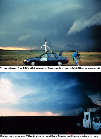 Storm chasing - Photos from National Severe Storms Laboratory (NSSL) in Norman, Oklahoma show staff and instrument chasing tornadoes during the first VORTEX project from 1994-1995. The first photo was in Graham, Texas, and the second southeast of Shamrock, Texas.