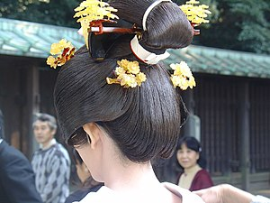 Hairstyle - Traditional hairstyle of a Japanese bride.