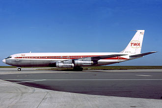TWA operated Boeing 707 single-aisle jets in the 1960s. Trans World Airlines Boeing 707-331B Gilliand.jpg