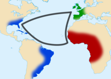 carte représentant le commerce triangulaire.