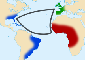 English: Triangular trade between western Euro...