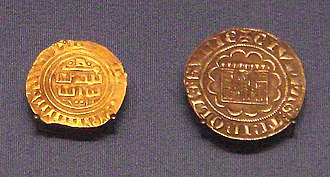 Bezant - County of Tripoli gold bezant in Arabic (1270–1300), and  Tripoli silver gros (1275–1287). British Museum.
