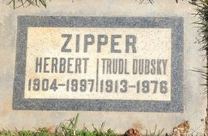 Herbert Zipper - Trudl Dubsky and Herbert Zipper memorial plaque, Woodlawn Memorial Cemetery, Santa Monica, Los Angeles