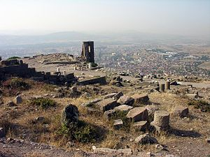 "Apollonius of Perga -  The ancient acropolis of Pergamon (from the Luwian language parrai, ""high place"") located above the modern city of Bergama. The building in the foreground is believed to have housed the 3rd century BC Library of Pergamon, identified by the marble busts of authors and the rows of holes in the walls possibly used for shelf fittings. Behind it is the Precinct of Athena containing her temple. Apollonius never worked here but his friend Eudemus probably did. Apollonius worked at or near the Library of Alexandria, currently located beneath the waves of Alexandria Harbor, not far from the shore where the modern library is sited."