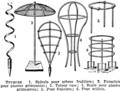 Tuteurs. Plant growing support, framework, tree stakes, etc. Book illustration (encyclopedia plate line art) Larousse du XXème siècle 1932.png