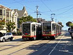 Two trains at Church and 22nd Street, May 2018.JPG