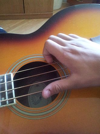 Slapping (music) - The typical position of the slapping hand