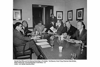 Gale W. McGee - United States Senate Committee on Civil Service (L-R): Senators Ted Stevens (R-AK), Ranking Member Hiram Fong (R-HI), Chairman Gale McGee (D-WY), Ralph Yarborough (D-TX), Jennings Randolph (D-WV), and Frank Moss (D-UT).