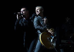 Bono, Adam Clayton, and Larry Mullen Jr during...