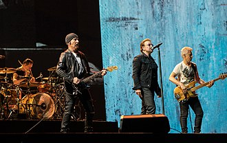 U2 - U2 performing in August 2017, from left to right: Larry Mullen Jr.; The Edge; Bono; Adam Clayton