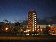 UMass Amherst W.E.B. Dubois Library night 2.jpg