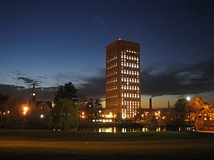 UMass at Amherst, W.E.B. Dubois Library at night