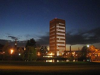 W. E. B. Du Bois Library - W. E. B. Du Bois Library at night
