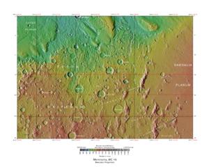 Comas Sola (crater) - Image: USGS Mars MC 16 Memnonia Region mola
