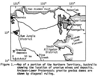 Alligator Rivers - Location of key Northern Territory uranium mines