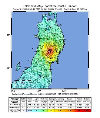 2008 Iwate–Miyagi Nairiku earthquake - Image: USGS Shake Map 2008tfdp