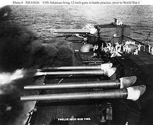 "12""/50 caliber Mark 7 gun - Image: USS Arkansas Main Guns Firing"