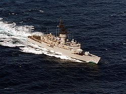 USS Badger (FF-1071) underway in the Pacific Ocean on 1 December 1985 (6418976).jpeg