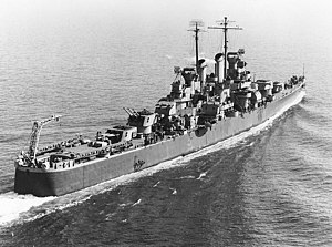 USS Birmingham (CL-62) - USS Birmingham underway in Hampton Roads, 1943