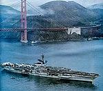 USS Coral Sea (CVA-43) passing under the Golden Gate Bridge on 8 November 1973.jpg