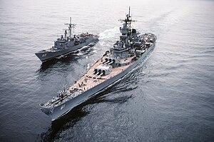 USS Halyburton (FFG-40) - Image: USS Iowa USS Hallyburton Ocean Safari 85 DN ST 86 02523
