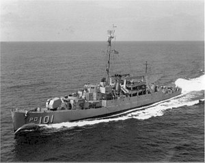 USS Knudson (APD-101) underway at sea, in the 1950s