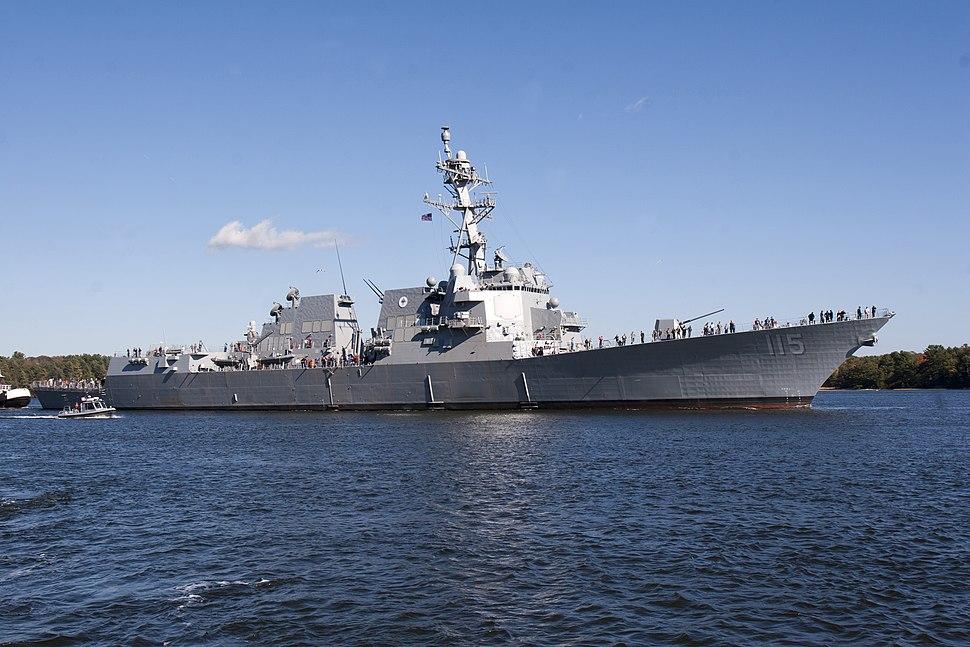 USS Rafael Peralta (DDG-15) leaving for builder's sea trials US Navy 161017-N-DM751-001