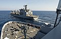 USS San Antonio approaches USNS Leroy Grumman. (8435774052).jpg