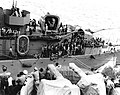USS Shaw (DD-373) transferring survivors of USS Porter (DD-356) to USS South Dakota (BB-57) on 28 October 1942 (80-G-33381).jpg