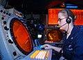 US Navy 030323-N-3181R-001 Air Traffic Controller 3rd Class Samantha Sheran watches for returning AV-8B Harrier aircraft aboard USS Bonhomme Richard (LHD 6).jpg