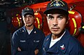 US Navy 030421-N-5862D-068 Engineman 2nd Class Nick Urena (right), from Brooklyn, N.Y. and Boatswain's Mate 3rd Class Christina Sebren, from Galveston, Texas, are both stationed aboard the Osprey class Coastal Mine Hunter USS K.jpg