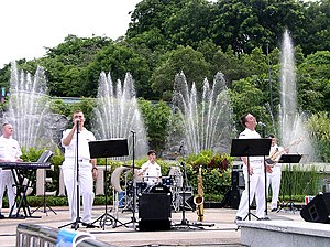 Sentosa Musical Fountain - United States Navy  Seventh Fleet Band performing for visitors on the Fountain's platform.