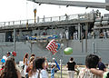 US Navy 060531-N-2248M-027 Family members welcome home the Sailors of the amphibious dock landing ship USS Oak Hill (LSD 51).jpg