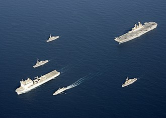 HMS Grimsby (M108) - Image: US Navy 090905 N 3165S 631 The Royal Navy fleet auxiliary ship Lyme Bay (L 3007) leads a formation of ships