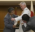 US Navy 090929-N-8623G-101 Adm. Timothy J. Keating, commander of U.S. Pacific Command, is presented with the Grand Cordon of the Order of the Rising Sun from Japan Minister of Defense the Honorable Toshimi Kitazawa.jpg