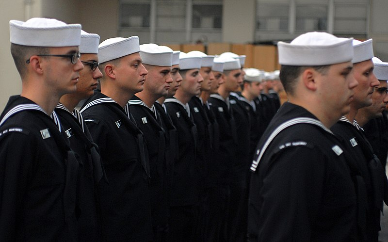File:US Navy 091105-N-0718S-051 Sailors from the Center for Information Dominance Detachment Monterey stand in formation while waiting to be inspected in their service dress blue uniform.jpg