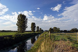 Somerset Levels - The River Brue in an artificial channel draining farmland near Glastonbury